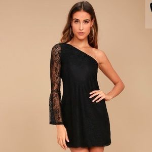 Lulu's one shoulder black lace dress